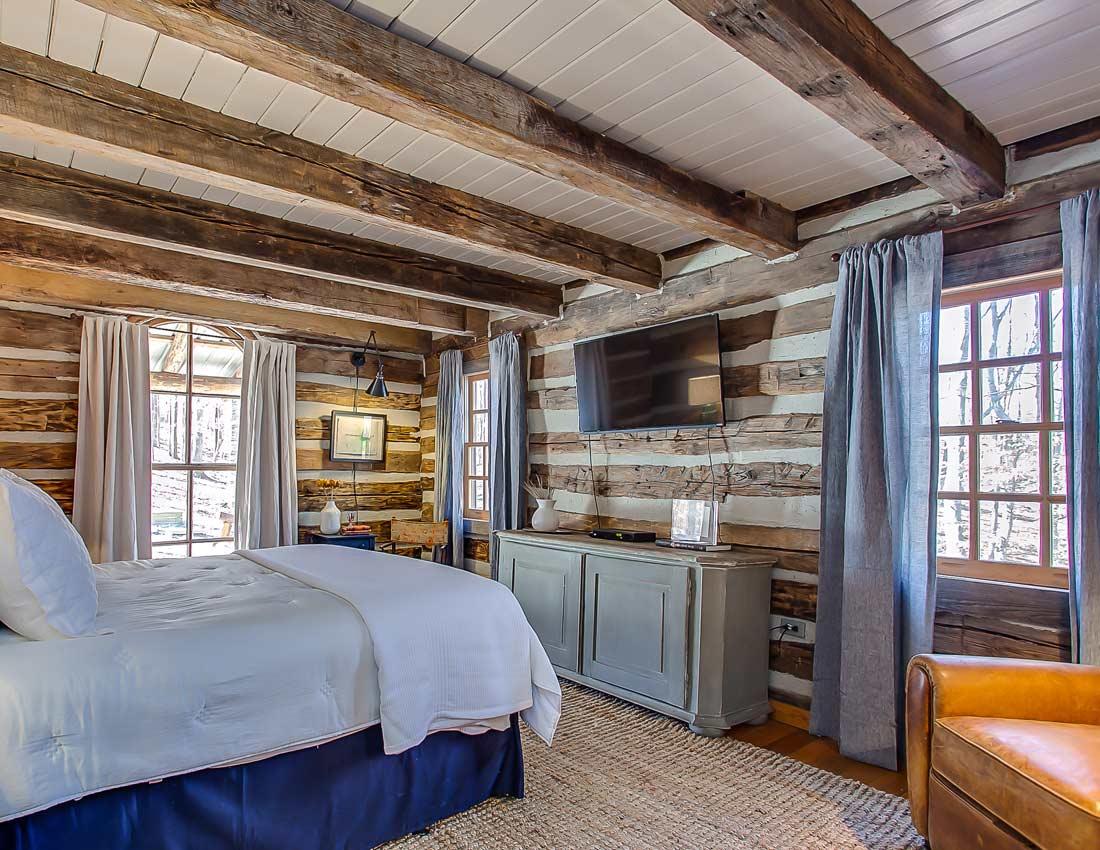 whites centerhill lake cabin master bedroom